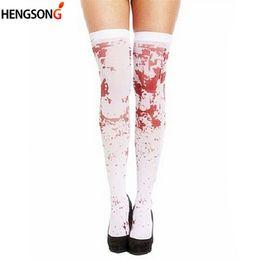 Socks Thigh Highs NZ - Halloween Party Bloody Nurse Fancy Long Funny Socks Women Sexy Horror White Thigh high Meias calca feminina Calcetines Sokken