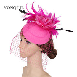 Pink Headpieces UK - Retail Elegant red veils hair fascinators for weddings women felt wool fedora hat with hot pink flower church headpieces SYF286