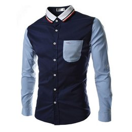Discount spell clothes - 2018 Brand Shirts Men Long Sleeve Casual Male Slim Fit Spell Color Pocket Mens Dress Shirts Business Clothing Plus Size