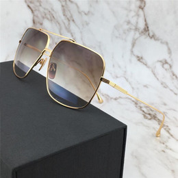 7e8d2b50bc new men brand designer sunglasses 005 square metal frame gold plated  vintage style ultralight UV400 lens top quality with original box