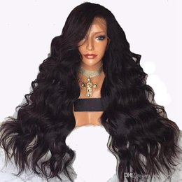 China Cool!!! Natural Long Body Wave Black Wigs Synthetic Lace Front Wigs With Baby Hair Glueless High Temperature Fiber Hair Wigs For Black Women cheap cool hairs suppliers