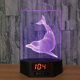 China The Dolphins Acrylic 3D Night Light Ban LED Calendar Desk Lamp Colors Change Remote control Clock Creative Lamp bedroom supplier dolphin bedroom lamp suppliers