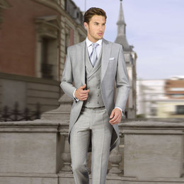 Wholesale italian wool pants for sale - Group buy Italian Tailcoat Gray Wedding Suits for Groom Custom Formal Morning Best Men Blazer Slim Fit Groomsmen Bridegroom Pieces Jacket Pants Vest