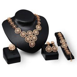 $enCountryForm.capitalKeyWord Australia - Dubai 18K Gold Pendant Flower Chain Necklace Sets Fashion African tripe Wedding Bridal Jewelry Sets (Necklace + Bracelet + Earrings +Ring)