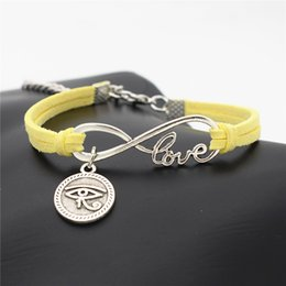 Egypt Pendants Australia - New Fashion silver Ancient Egypt Totem Round Eyes of Horus pendant Bracelets for women men yellow leather rope cuff jewelry accessories gift