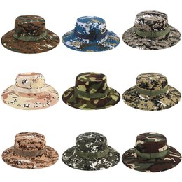 b03ae110018 Bucket Hats Sniper Camouflage Cap Military Army Accessories Hiking Hats  jungle Climbing cap 17 colors big boys Sunshade hat C4329