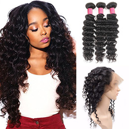 Wholesale Deep Wave Full Lace Band Frontal with Weaves Malaysian Virgin Human Hair Bundles Deals with Band Lace Closure Deep Wave Extension