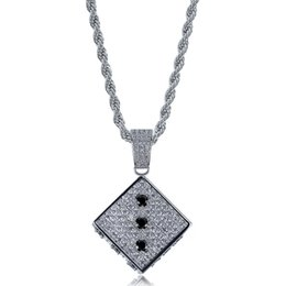 $enCountryForm.capitalKeyWord UK - Hip Hop Brass Gold Silver Color Iced Out Micro Pave CZ Square Dice Pendant Necklace Charms For Men