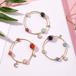 Discount moon star bracelets - Korean Trendy Rhinestone Star Moon Charm Bracelets for Women Crystal Beads Bracelet Bangles Femme Girls Hand Jewelry MJ1