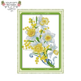 cross decor UK - wholesale H757 14CT 11CT Counted and Stamped Home Decor Elegant Daffodil Needlework Needlepoint Embroidery Cross Stitch kits
