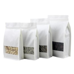 Wholesale gift snacks online shopping - White Stand up Paper Window Packaging Bag Snack Cookie Tea Packaging Frosted Window Ziplock Bag Gift Bags Pouches