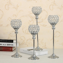 $enCountryForm.capitalKeyWord Australia - Silver Crystal Candle Tealight Holder Metal Glass Candlesticks Vintage Stand Home Party Holiday Decoration Table Centerpieces Birthday Gifts