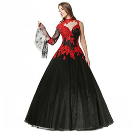 high collar gothic wedding gowns NZ - Gothic Black and Red Wedding Dresses 2019 New Design Floor Length Beads Applique A-Line One Sleeve High Neck Lace Tulle Bridal Gowns W300