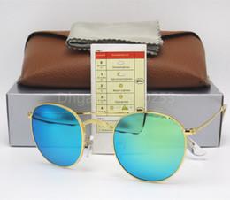 0a32f48672 Gafas de sol redondas Gafas Gafas de sol Diseñador Marco de metal dorado  Espejo verde 50 mm Lente con flash Lentes de vidrio para hombre Para mujer  Caja ...