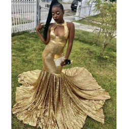 unique girls party dresses NZ - Gold Sequined Dresses Evening Party Formal Gowns For Black Girls Women Unique Neckline Mermaid With Train Long Cheap Prom Dress