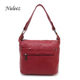 Handbags Blue Canada - Nuleez Brand Shoulder Strap Genuine Leather Bag Hobo Shoulder Handbags Women Leisure Red Blue Black Crossbody Messenger Bag 3104