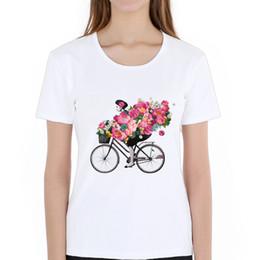 flower girl tee shirts 2019 - Women's Tee Fashion Floral Flowers Women T Shirt Girl Riding A Bicycle Tshirt Women Casual Loose Summer T Shirt Cot