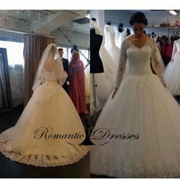 $enCountryForm.capitalKeyWord Canada - Vestidos De Novia 2016 V Neck Long Sleeved White Lace Appliques Ball Gown Wedding Dresses With Petticoat Bridal Gown