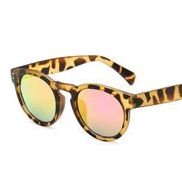 aba3b97f5e78 Leopard Colorful Round Horn Rim Fashion Women Mirrored Lens SUNGLASSES  Designer Acetate Frame 101 Oculos De Sol Korean Style 101