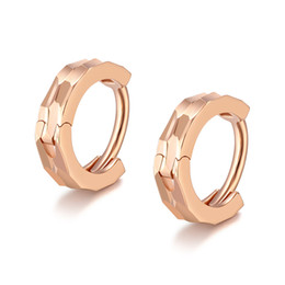 Solid Hoop Earrings UK - New Arrival Solid Rose Gold Hoop Earrings Women Round Hoop Earrings 0.55g