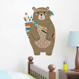 BaBy Bear stickers online shopping - Cute Tribal Bear Wall Sticker Removable PVC Cartoon Bear Stickers Diy Nursery Wall Art For Baby Kid Room Vintage Home Decor