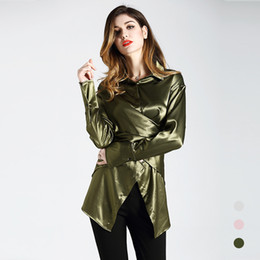 Women Green Striped Chiffon Office Silk Blouse Womens Tops And Blouses 2019 Elegant Sexy Boho Long Sleeve Plus Size Slim Fit Fashion Suitable For Men And Children