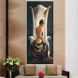 $enCountryForm.capitalKeyWord Australia - 1 Piece Vintage Large Sexy Woman on Chair Oil Painting HD Print Girl Naked Body on Canvas Wall Art Picture No Framed