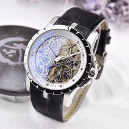 1416b8ae96d AAA qualidade novo designer de moda relógios homens oco out esqueleto top  marca de luxo relógio mecânico pulseira de couro relógio de pulso 201