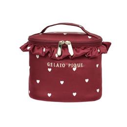 2018 Nuevo estilo Dulce amor Lona blanca Encaje Moda y ocio bolso de maquillaje estéreo bolso de viaje Cremallera Bolsa de vino RR1802