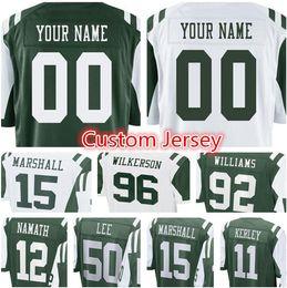 1e92a18eecc New York Jets Custom Jersey Men's #12 Joe Namath 92 Williams 96 Wilkerson  99 Gastineau 50 Darron Lee 15 Marshall stitched jerseys