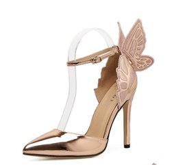 Wholesale women thin heels sandals pumps sexy Pointed Toe high heel butterfly wedding shoes party fashion dress shoes