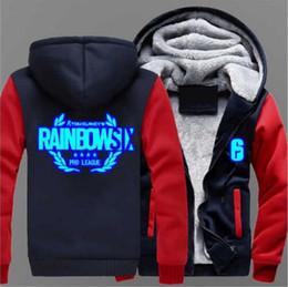 cosplay six 2019 - 2018 Dropshipping Rainbow hoodie luminous Six Siege Winter Coat Game Cosplay For Men Hoodies Thicken Coat Fleece Sweatsh