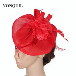 black elegant hair Canada - Fascinator Base hat with silk flower adorn headpiece feather hair accessories elegant women's party Occasion chic DIY headdress wholesale