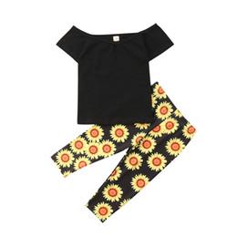 $enCountryForm.capitalKeyWord Australia - 2Pcs Girls Clothing Set Floral Clothing Newborn Toddler Kid Baby Girl T-shirt Tops+ Sunflower Printing Pant Outfit Clothes Set