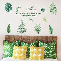 green black bedroom 2019 - EU Style Green Plant Wall Stickers Wallpaper Wall Picture Art Room Home Decor Kitchen Accessories Household Crafts Suppl