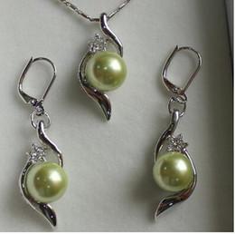 Light Green Pearls Australia - Free Shipping lady's beautiful 10mm light green shell pearl pendant & earrings jewelry sets best gift