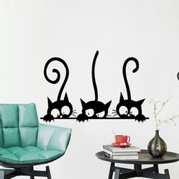 window stickers Australia - Three Funny Cats Removable DIY Decoration PVC Window Decals Animal 3D Wall Sticker Home Decor Wall Stickers