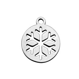 $enCountryForm.capitalKeyWord UK - 30Pcs Lot Stainless Steel Round Snowflake Charms Pendant DIY Metal Bracelet Necklace Jewelry Findings 12*14mm
