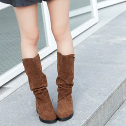 $enCountryForm.capitalKeyWord Canada - CAGACE 2018 Women Brand Autumn Winter Boots Female Round Toe Mid-calf ss Sweet Boot Stylish Flat Flock Shoes Snow Boots
