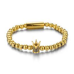 $enCountryForm.capitalKeyWord NZ - Titanium steel Crown Beads Bracelets Gold Bangle Crystal CZ Bracelet Jewelry Men Women Best Gift