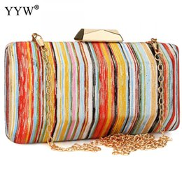 Color Leather Bags Australia - New Arrival Zinc Alloy Clutch Bag With Chain Contrast Color Striped Evening Clutch Bags For Women 2018 Leather Crossbody Bag