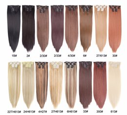 """Hot Sale 22"""" Hairpiece 140G Straight 16 Clips In False Styling Hair Synthetic Clip In Hair Extensions Heat Resistant on Sale"""