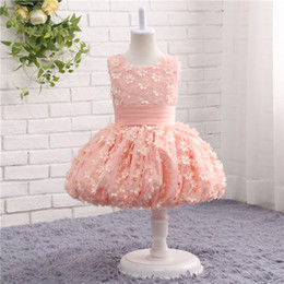 Wholesale Pink Flower Girl Dress for Weddings Sleeveless O Neck Real Picture Girl Pageant Gown For Little Girls TZ005