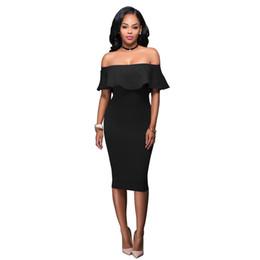 1484f707d5 Women s Summer Off Shoulder Midi Bodycon Dress Slash Neck Ruffle Strapless  Backless Sexy Pencil Slim Dress Elegant Party Dresses Black Dress