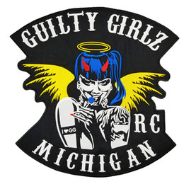 Bikers Back Patches Australia - GUILTY GIRLZ MICHIGAN Patch Rocker Biker Motorcycle Club Jacket Vest Morale MC Back of Jacket Iron on Clothing Vest Parch Free Shipping