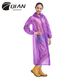 waterproof long raincoat NZ - QIAN RAINPROOF Impermeable Long Style Raincoat Adults Waterproof Trench Coat Poncho Rain Coat PVC Rainwear Rain Gear Poncho