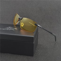Wholesale Night Vision Sunglasses For Men Classic Square Glass Semi Rimless Polarized HD Vision Driving Glare Sun Glasses with box FML