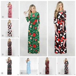 Discount long festival dress - Christmas cartoon printed Dresses Women Maxi Dress Round Neck Long Sleeve Skirt Lady Festival Party-dress Female Long Dr