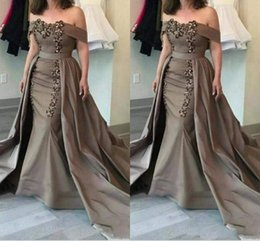 $enCountryForm.capitalKeyWord NZ - 2019 Brown Mermaid Evening Dresses With Over Skirt Off Shoulder Sweep Train Appliques Beads Formal Prom Party Gowns Special Occasion Dress