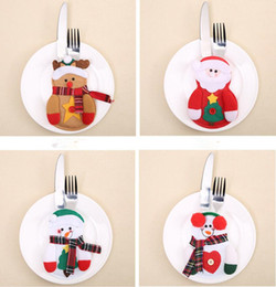Christmas Tables Canada - Christmas Decorations Cutlery Bags Christmas Santa Claus Snowman Kitchen Dining Table Cutlery Suit Set Christmas Gifts Supplies MMA710